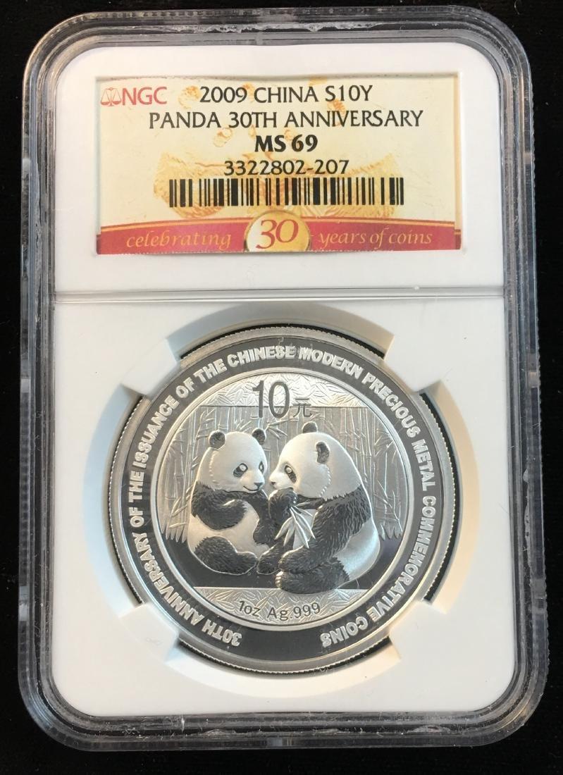2009 China 10Y Silver Panda 30th Anniversary NGC MS69