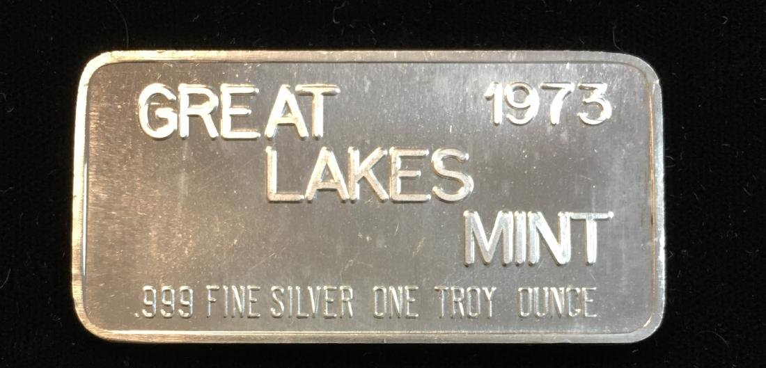 1973 Great Lakes Mint 1 tr oz .999 Fine Silver Proof