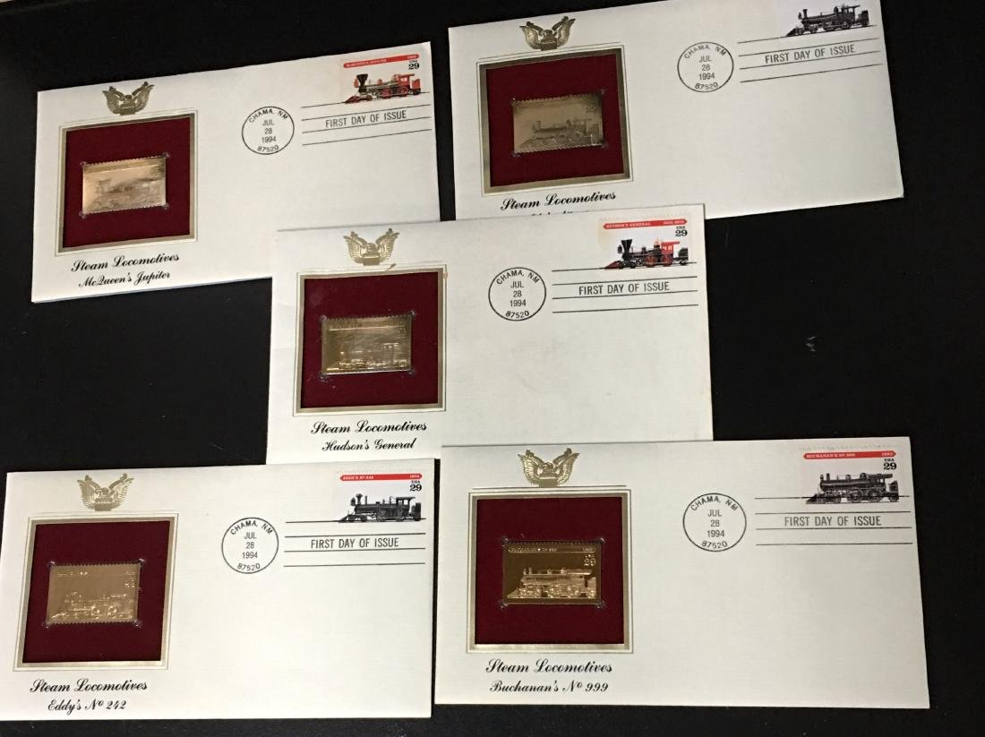 Set of 5 - 1994 USPS 1st Day of Issue Steam Locomotives