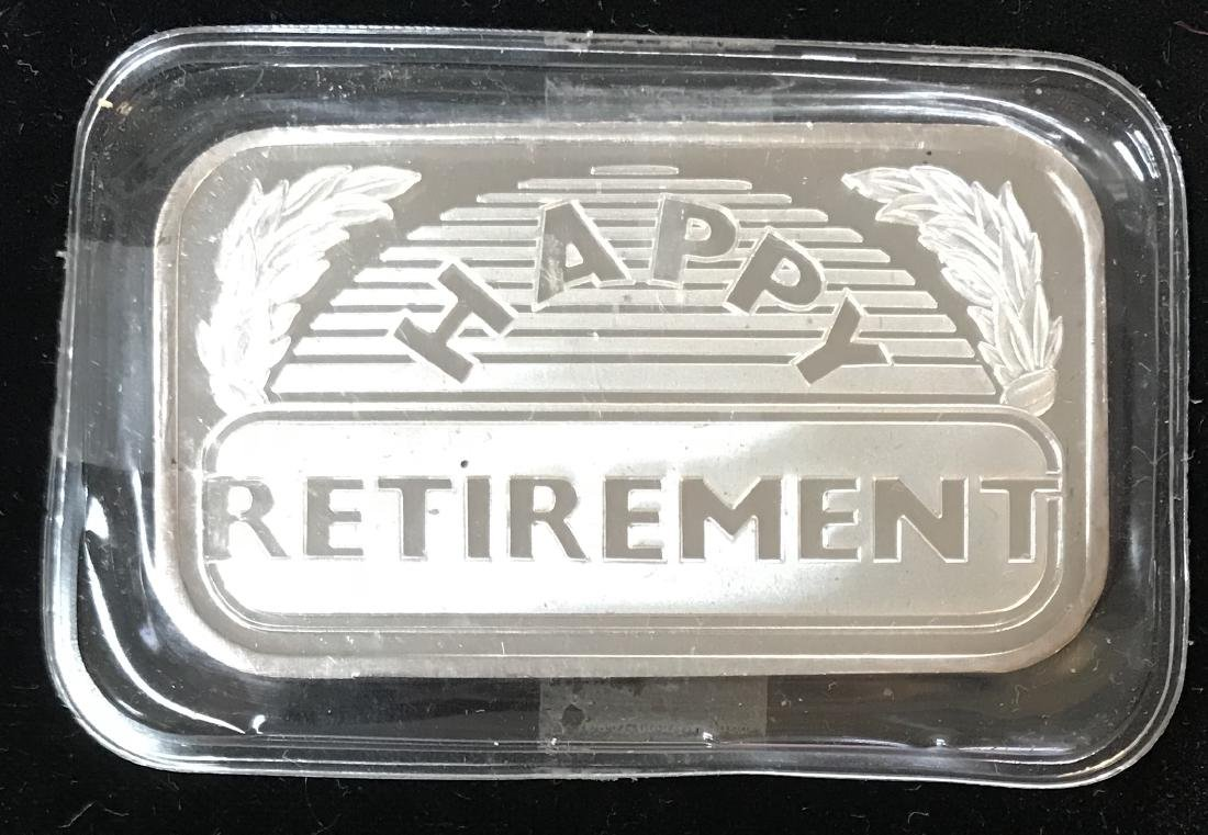 1989 Happy Retirement Art Bar 1 oz .999 Fine Silver