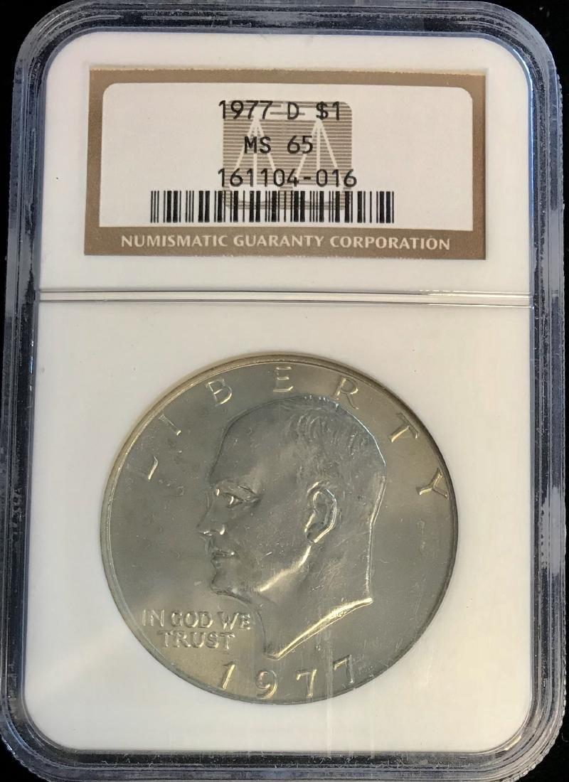 1977-D $1 U.S. Eisenhower Dollar NGC MS65