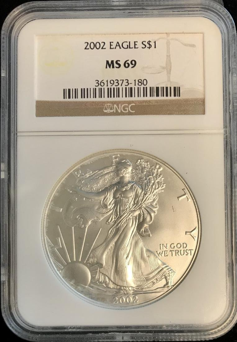 2002 $1 American Silver Eagle NGC MS69