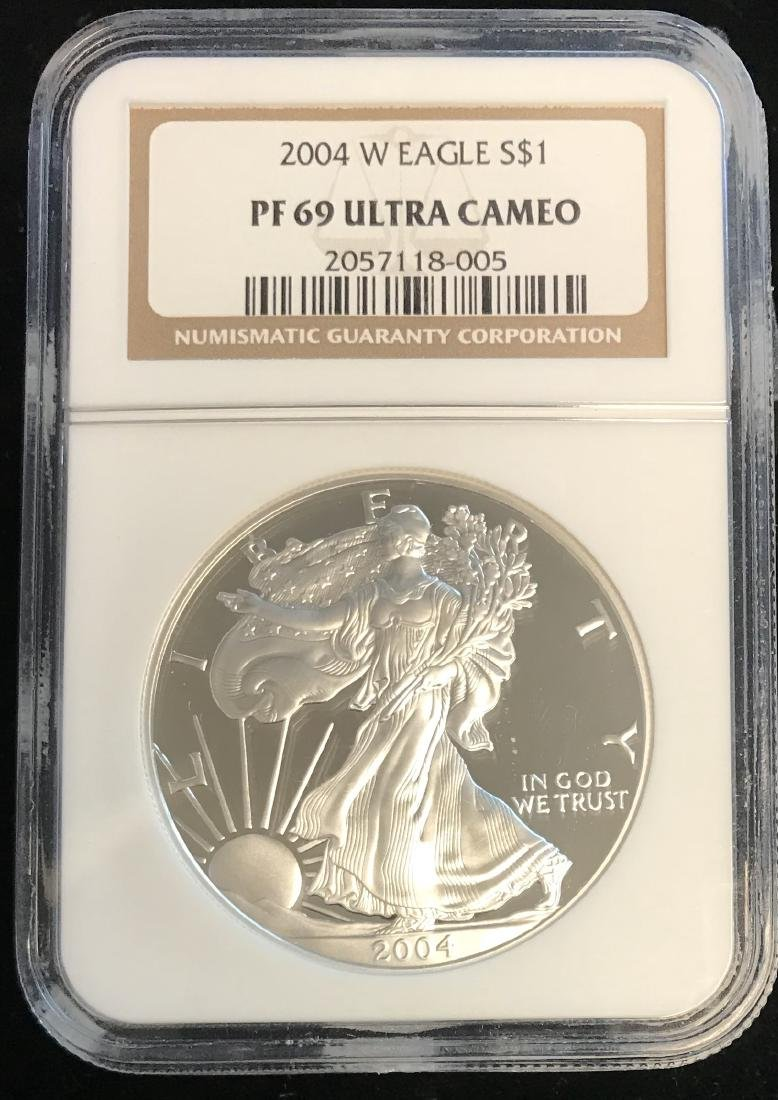 2004-W $1 American Silver Eagle NGC PF69 Ultra Cameo