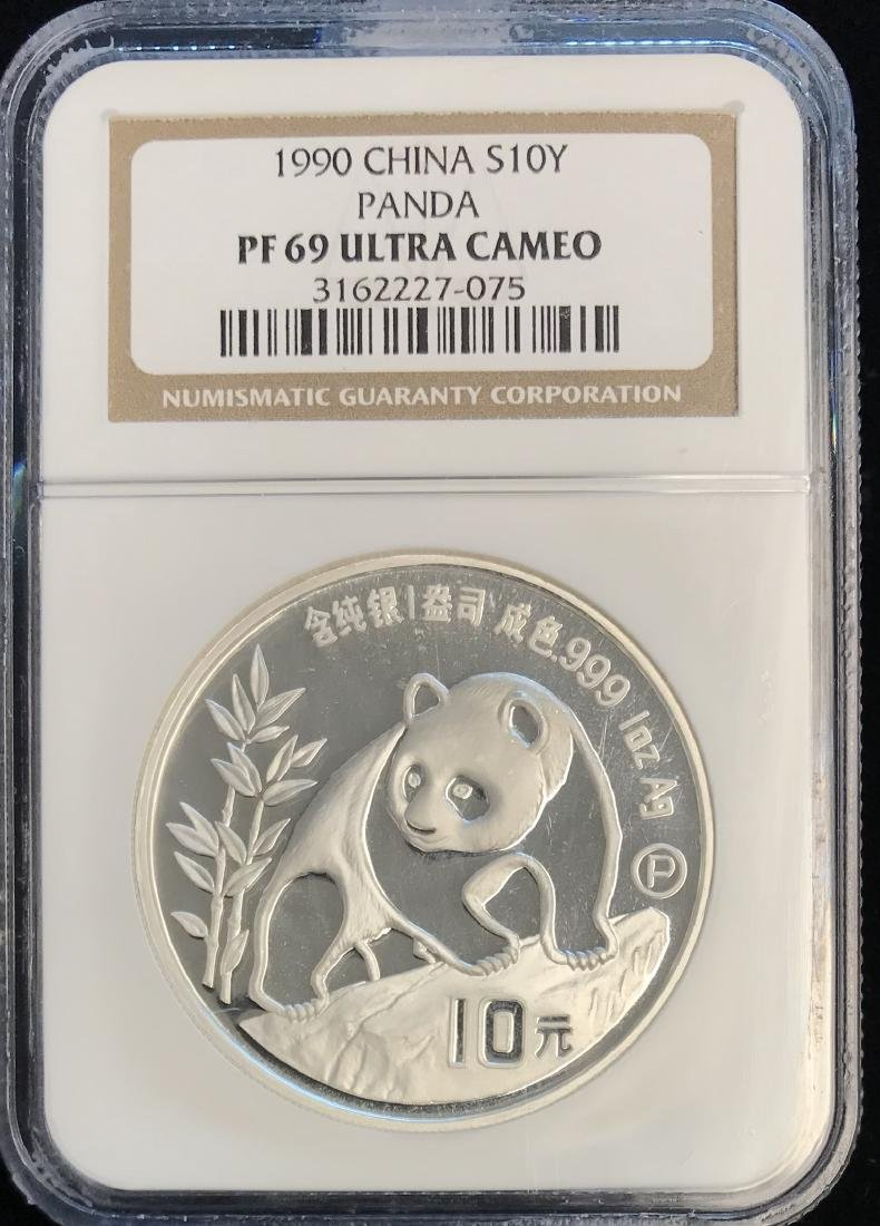 1990 10Y China Silver Panda NGC PF69 Ultra Cameo