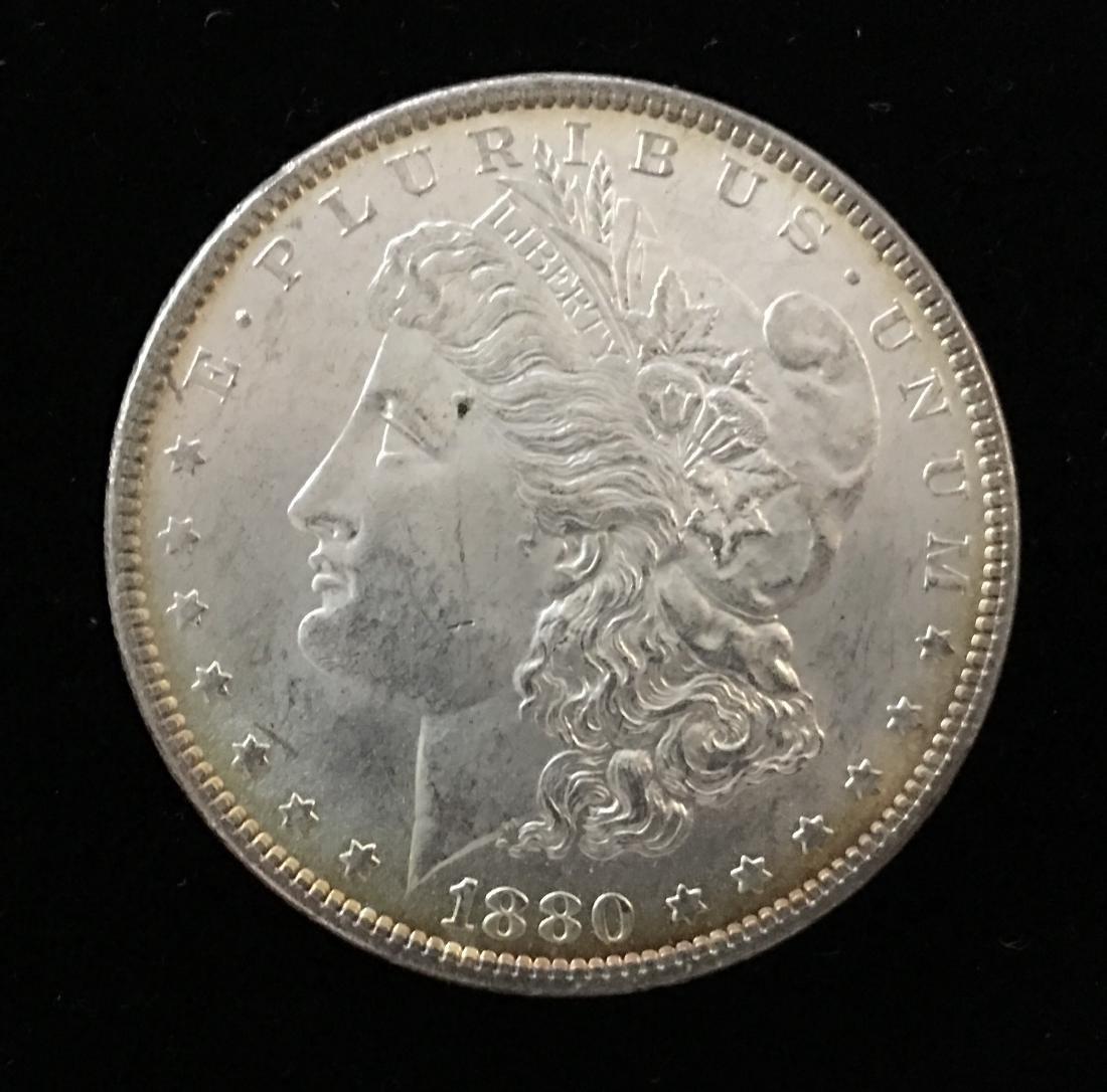 1880-P $1 Morgan Silver Dollar GEM BU Nice Rainbow