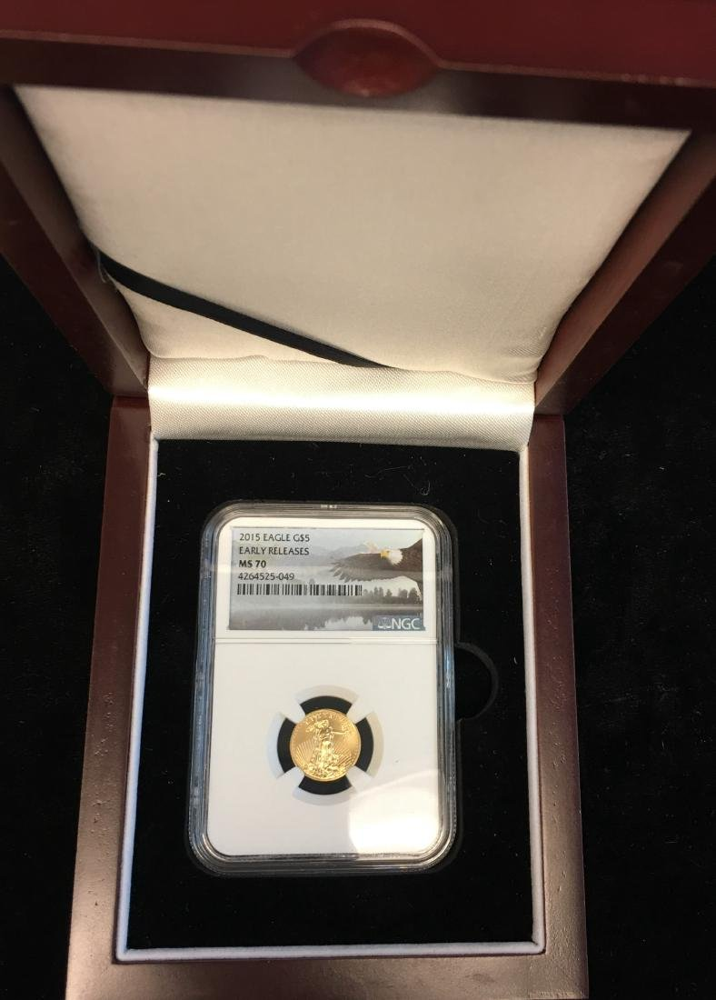 2015 $5 American Gold Eagle 1/10 oz NGC MS70 Early