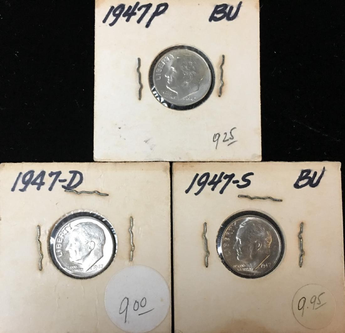 1947-PDS 10C Set of 3 Silver Roosevelt Dimes BU