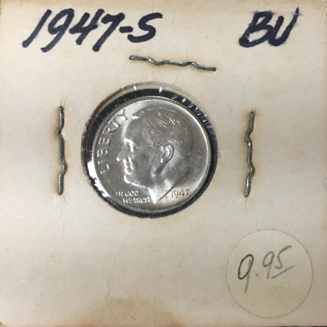 1947-PDS 10C Set of 3 Silver Roosevelt Dimes BU - 7