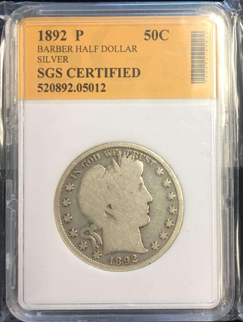 1892-P 50C Silver Barber Half Dollar (Liberty Head)