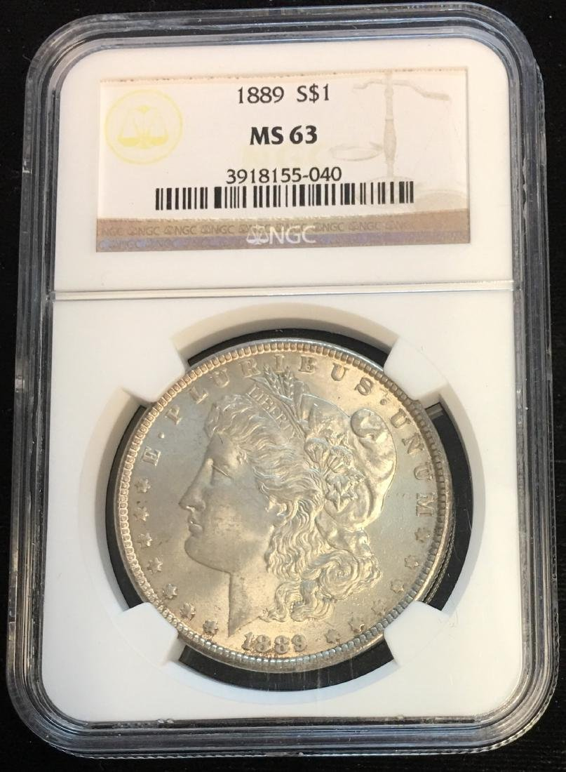 1889-P $1 Morgan Silver Dollar NGC MS63