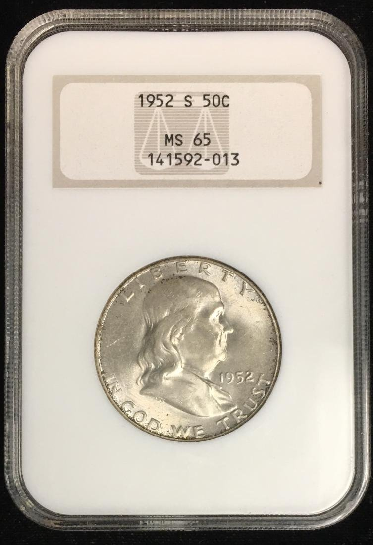 1952-S 50C Franklin Half Dollar NGC MS65