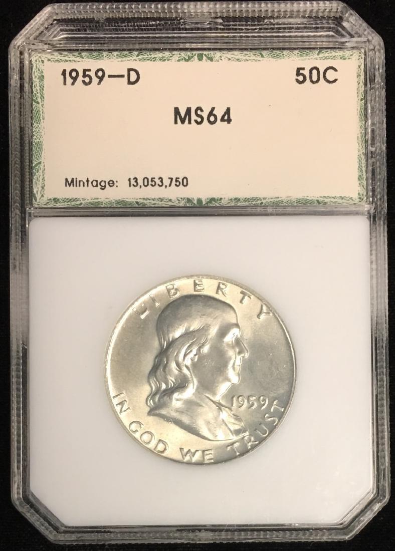 1959-D 50C Franklin Half Dollar PCI MS64