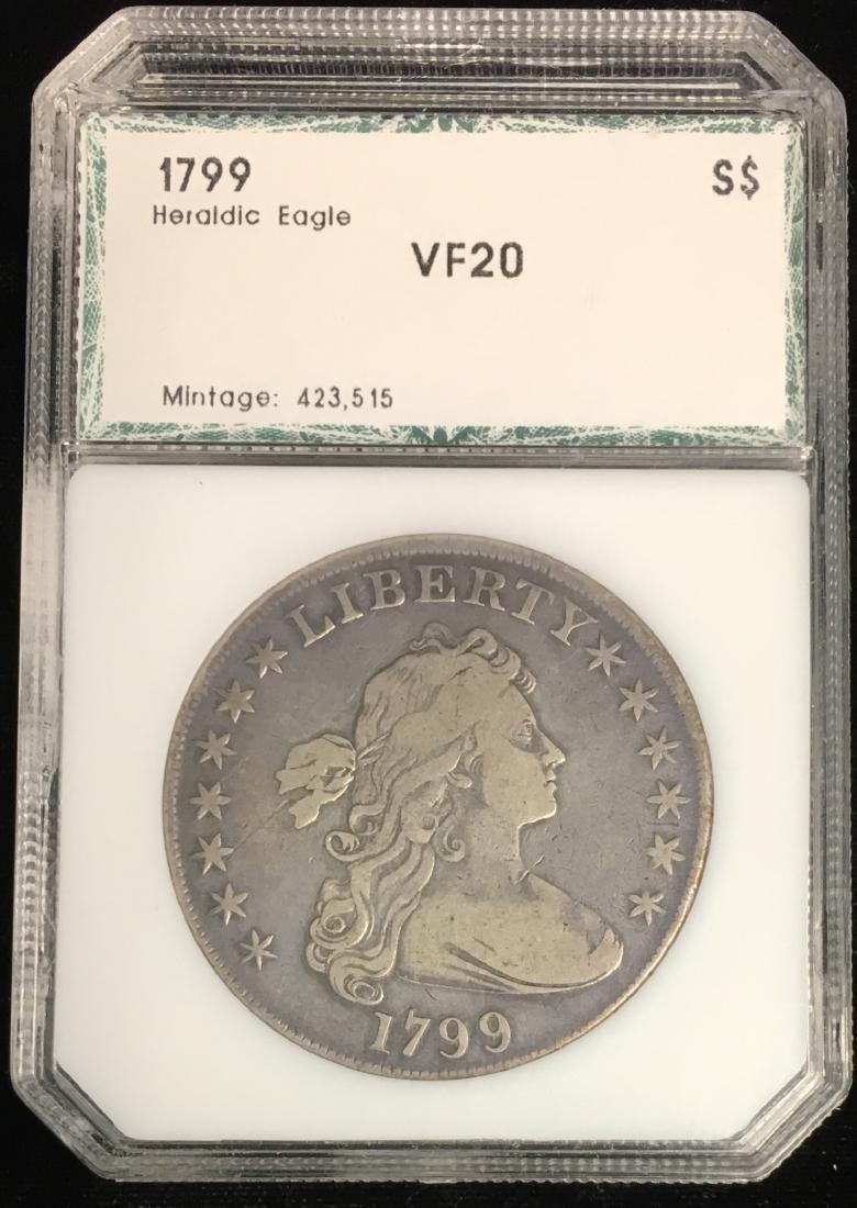 1799 $1 Draped Bust Dollar Heraldic Eagle Reverse PCI