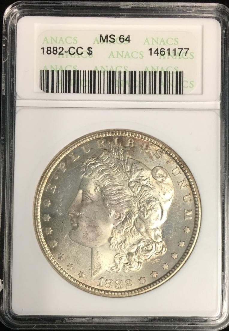 1882-CC $1 Morgan Silver Dollar ANACS MS64 Nice Gold