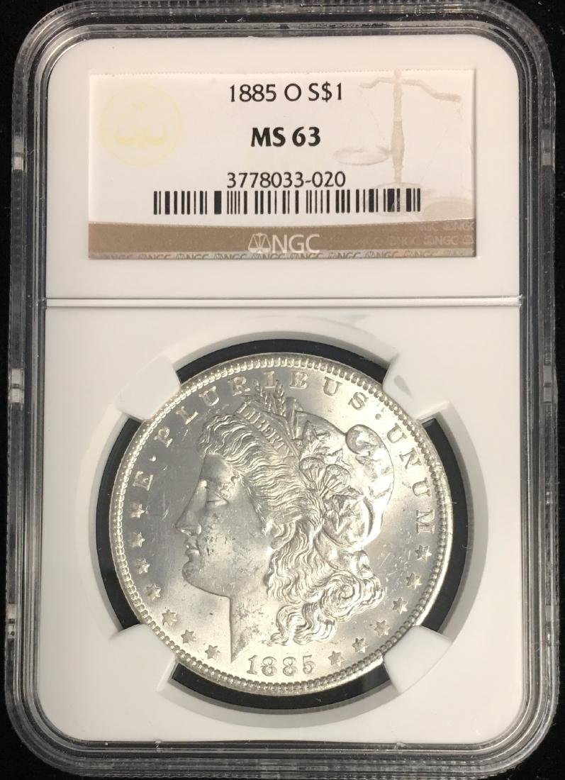 1885-O $1 Morgan Silver Dollar NGC MS63