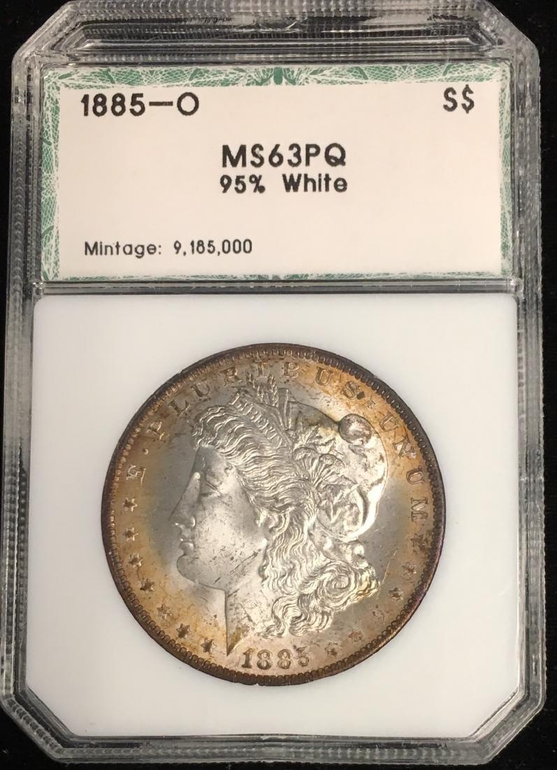 1885-O $1 Morgan Silver Dollar PCI MS63PQ 95% White