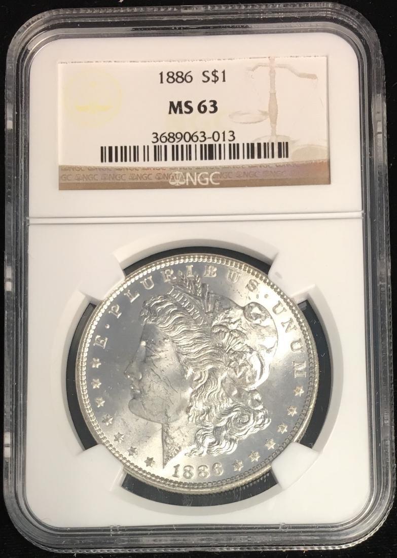 1886-P $1 Morgan Silver Dollar NGC MS63