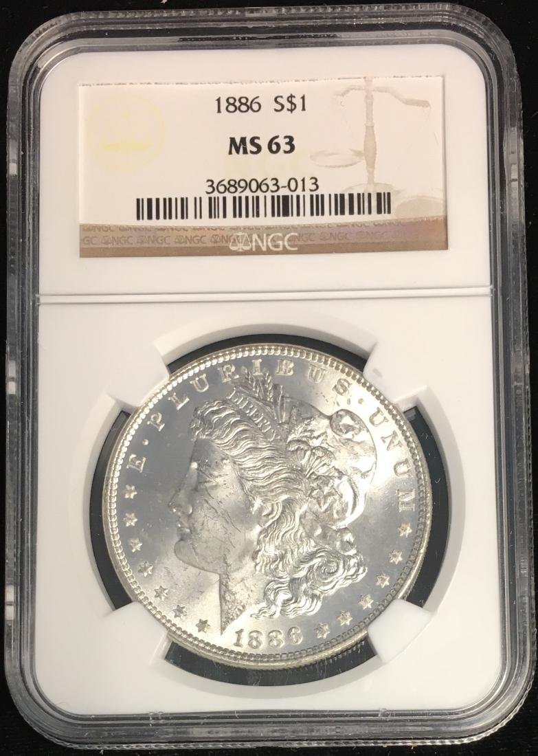 1886-P $1 Morgan Silver Dollar NGC MS63