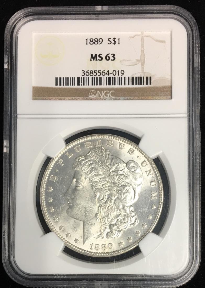 1889-P $1 Morgan Silver Dollar NGC MS63