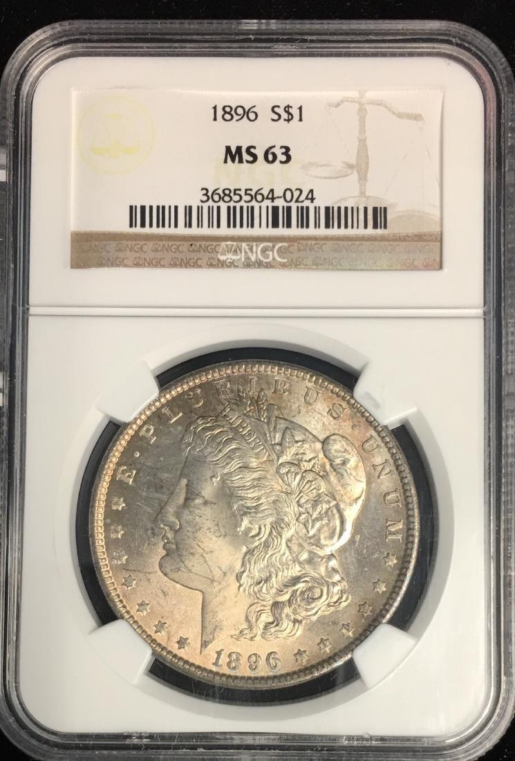 1896-P $1 Morgan Silver Dollar NGC MS63 Very Nice