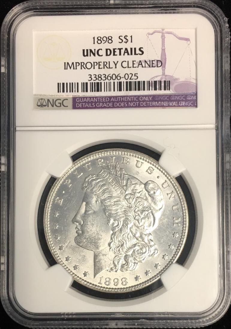 1898-P $1 Morgan Silver Dollar NGC UNC DETAILS