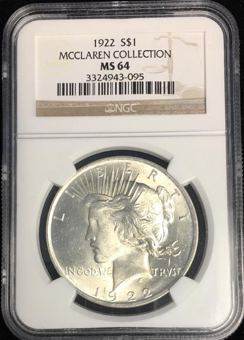 1922-P $1 Peace Silver Dollar NGC MS64 MCCLAREN