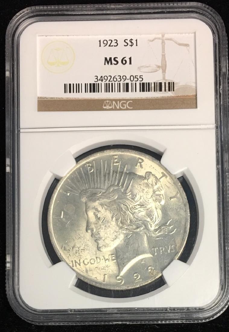 1923-P $1 Peace Silver Dollar NGC MS61