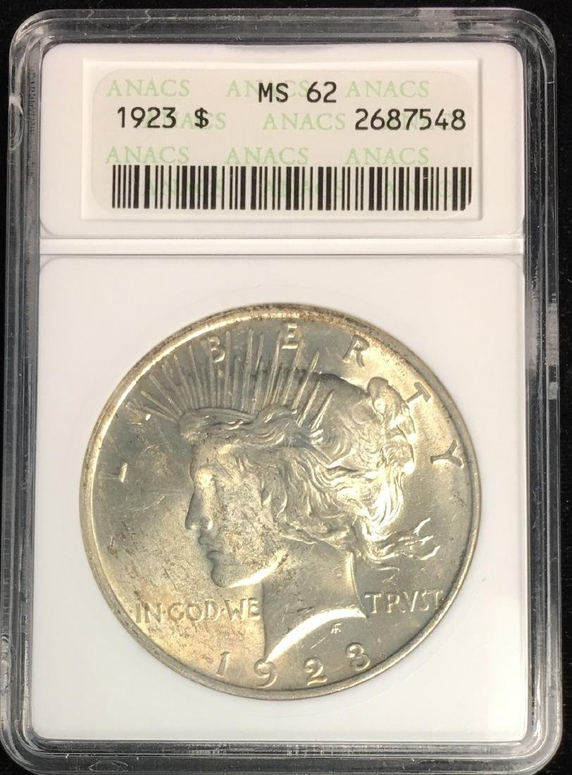 1923-P $1 Peace Silver Dollar ANACS MS62