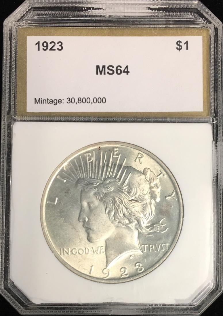 1923-P $1 Peace Silver Dollar PCI MS64 Mintage