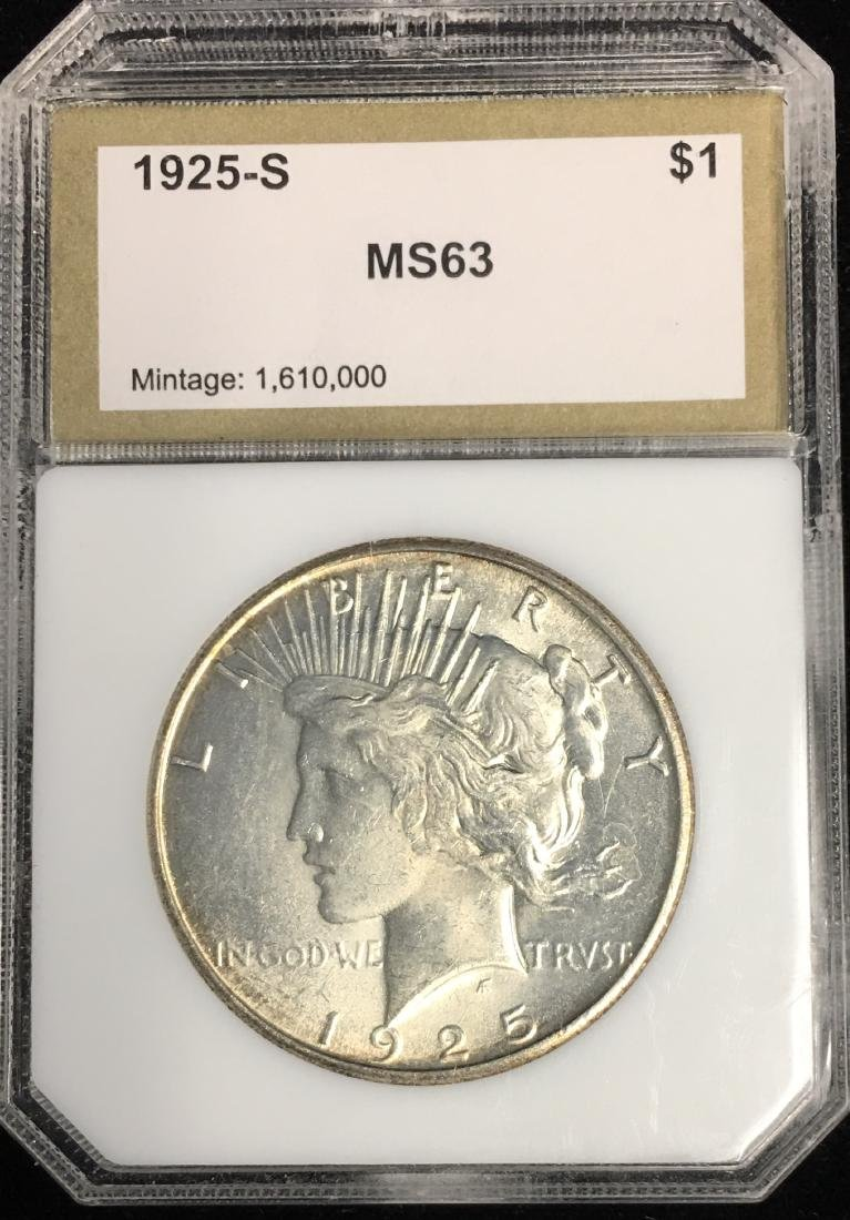1925-P $1 Peace Silver Dollar PCI MS63 Mintage