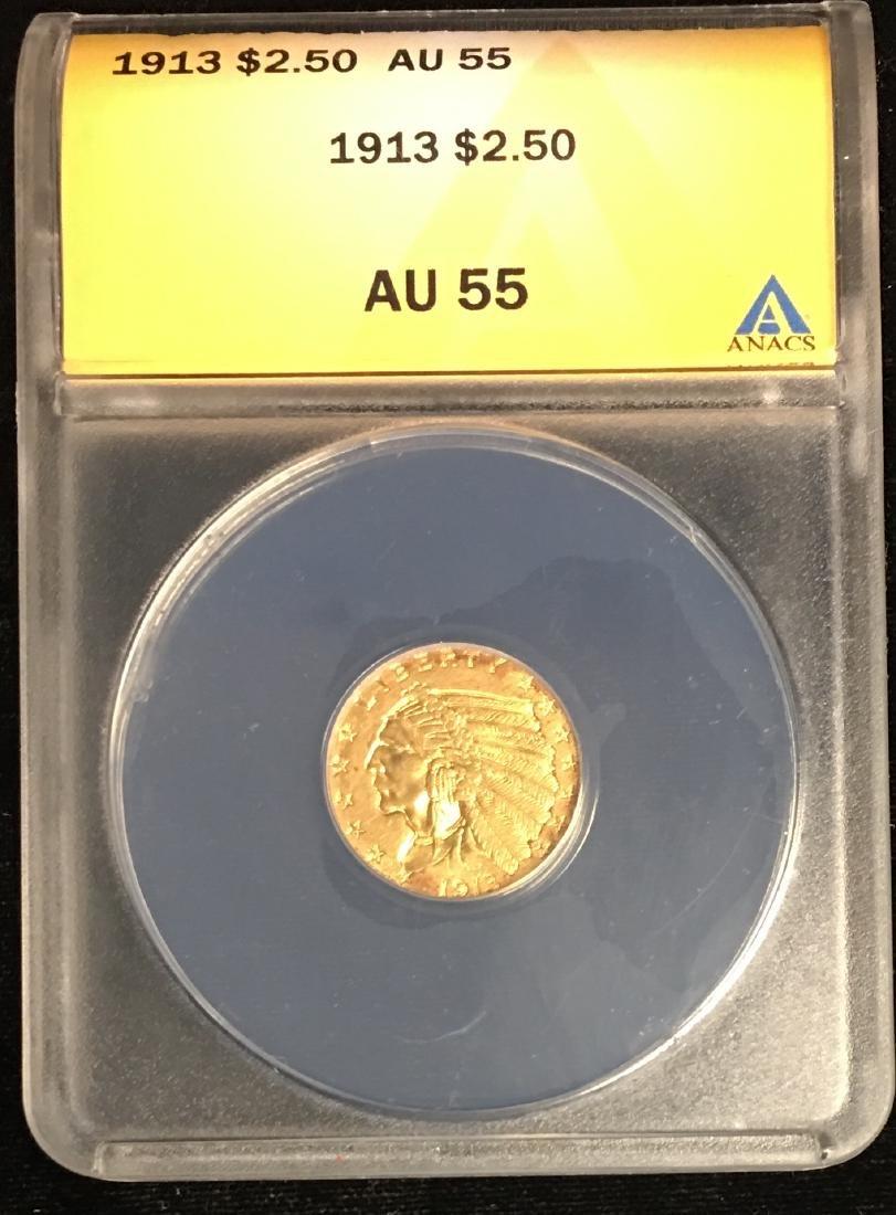 1913 $2.5 Indian Head Gold Quarter Eagle ANACS AU55
