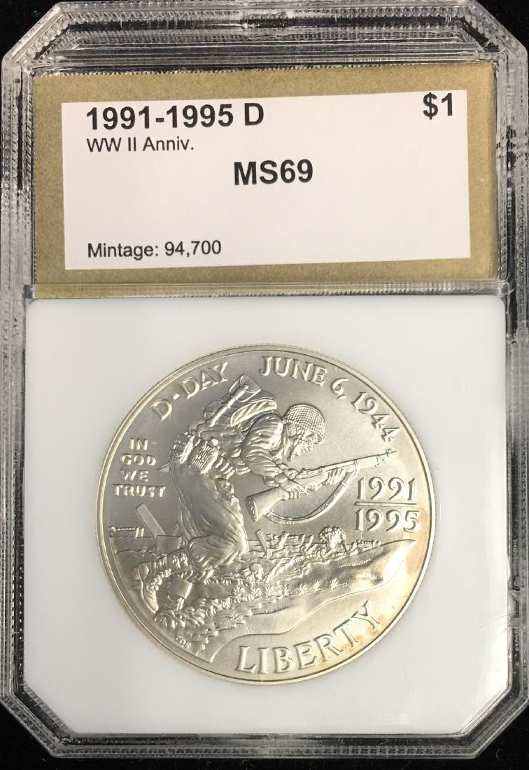 1991-1995 $1 50th Anniversary of World War II Silver