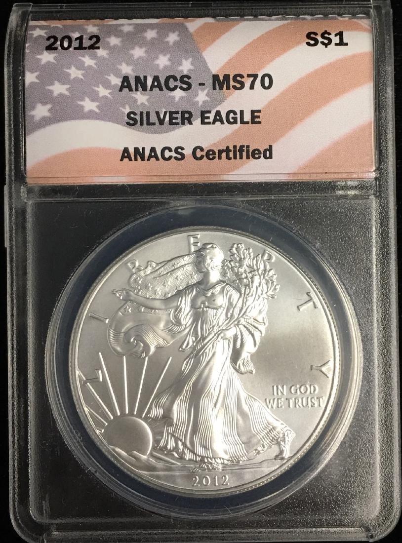 2012 $1 American Silver Eagle ANACS MS70