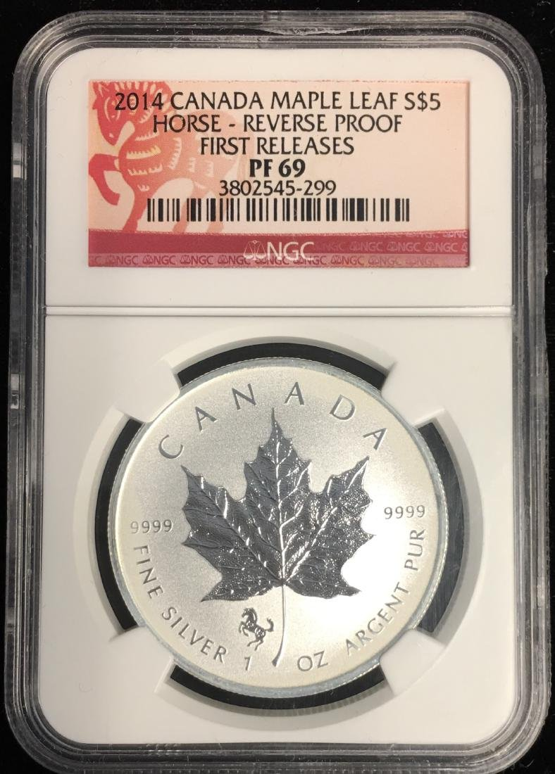 2014 $5 Canada Maple Leaf Horse-Reverse Proof First