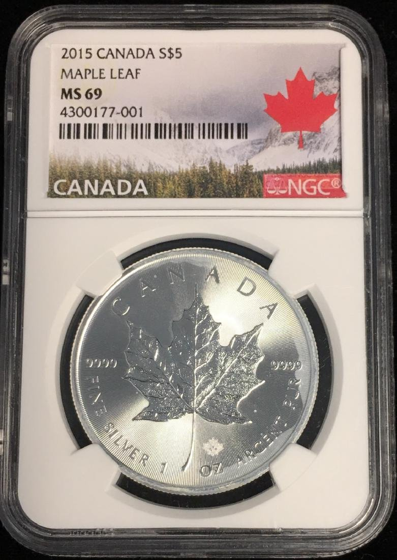 2015 $5 Canada Maple Leaf NGC MS69
