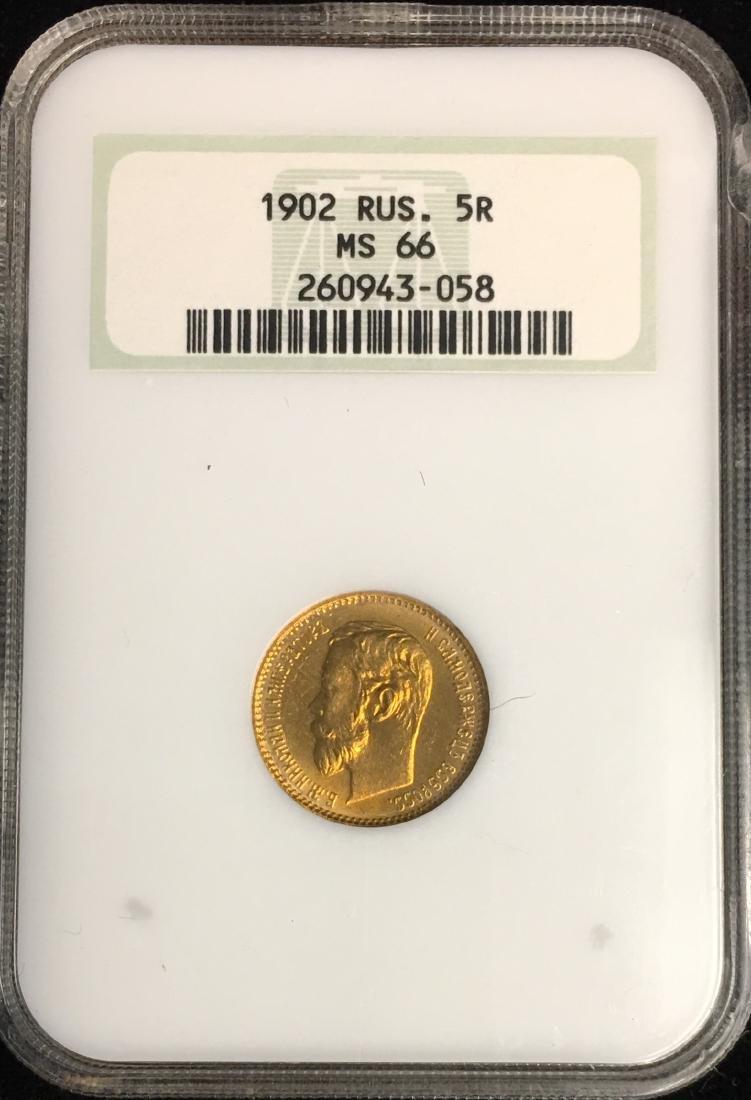 1902 Russia 5 Rubles NGC MS66 Gold .1244 oz AGW