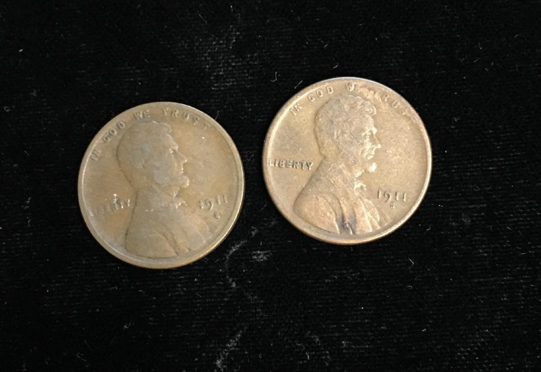 Set of 2 - 1911-S 1c Lincoln Cents VG