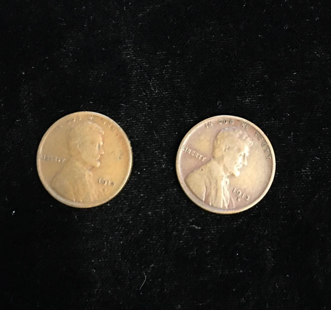 Set of 2 - 1913-D 1c Lincoln Cents VG