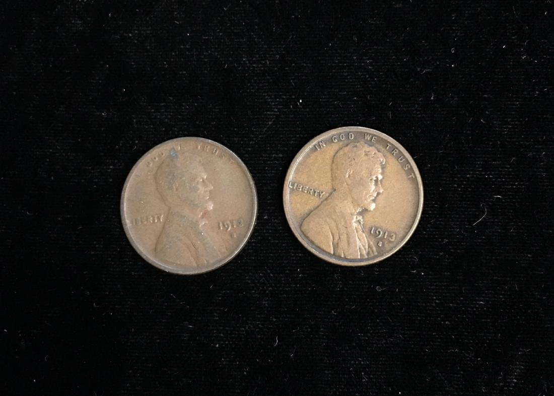 Set of 2 - 1913-S 1c Lincoln Cents Fine
