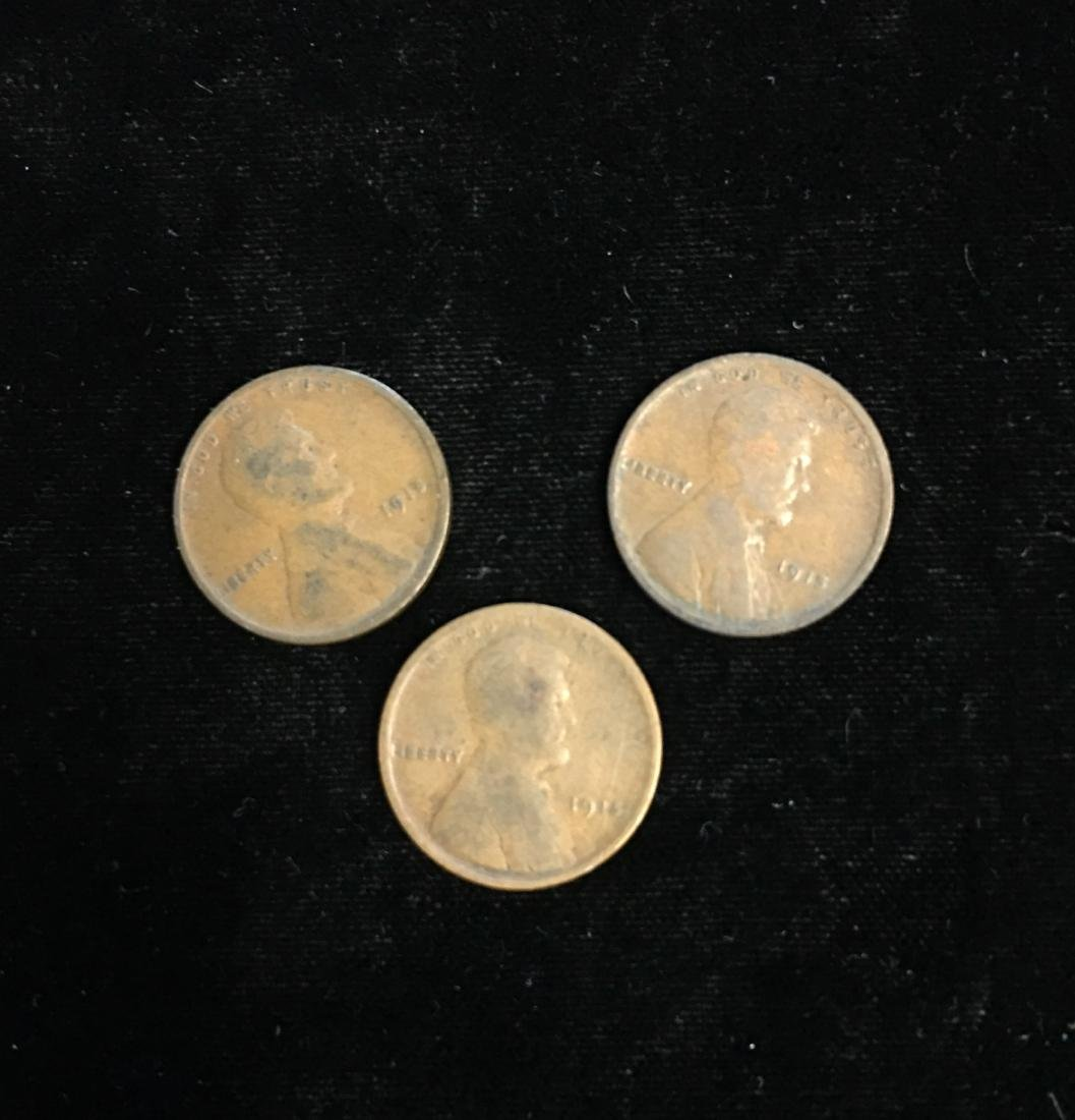 Set of 3 - 1915 1c Lincoln Cents Good