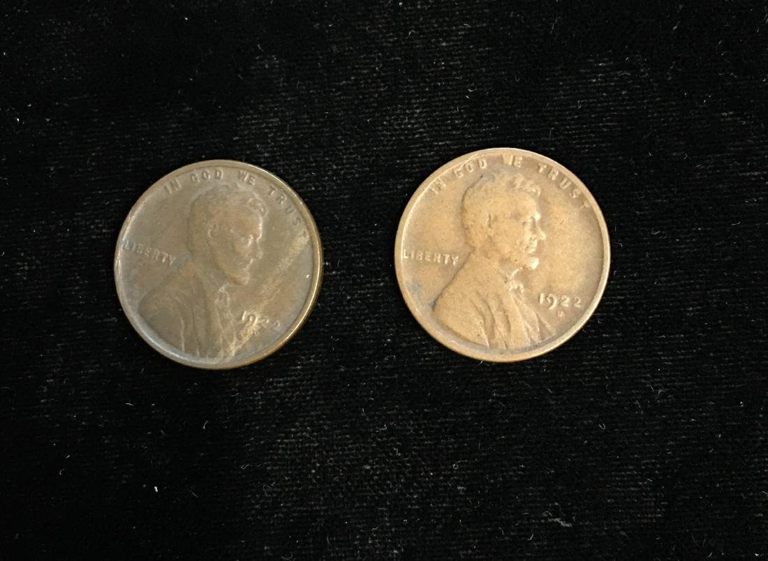 Set of 2 - 1922-D 1c Lincoln Cents