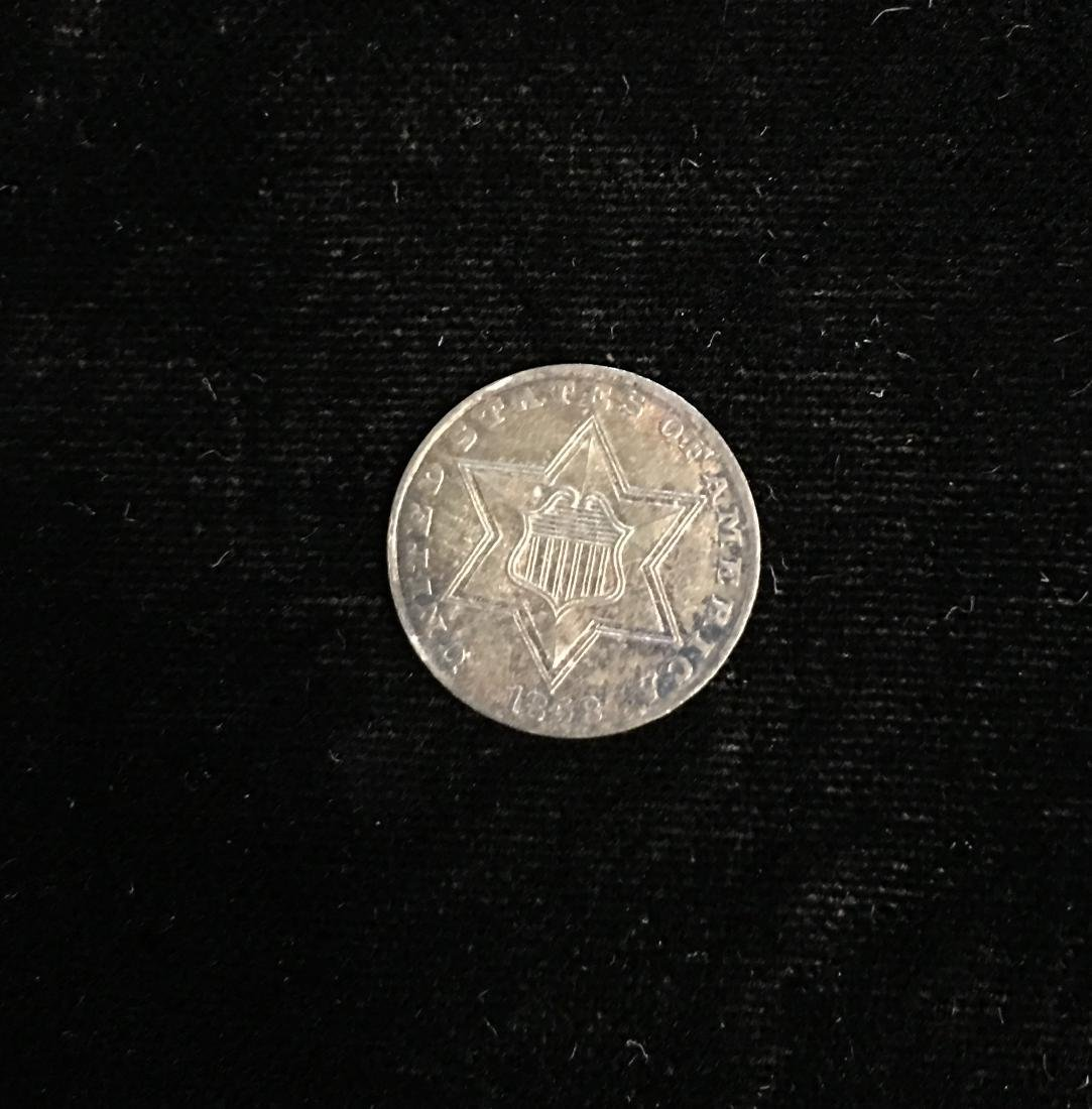 1858 3c Silver Three-Cent Piece Toned AU-BU