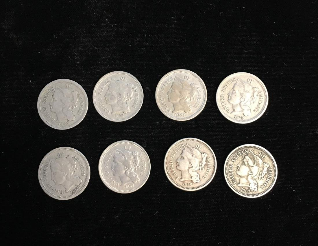 Set of 8 - Various Dates 3c Nickel Three-Cent Pieces