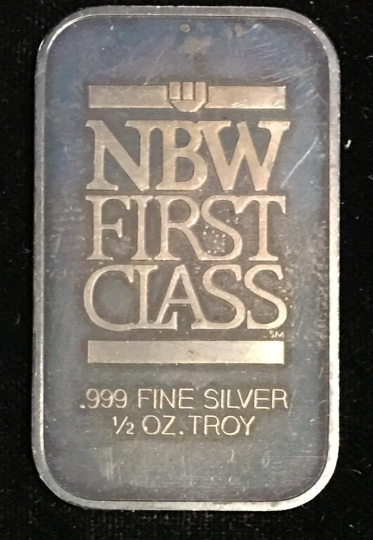 1/2 tr.oz .999 Fine Silver NBW First Class Art Bar Nice