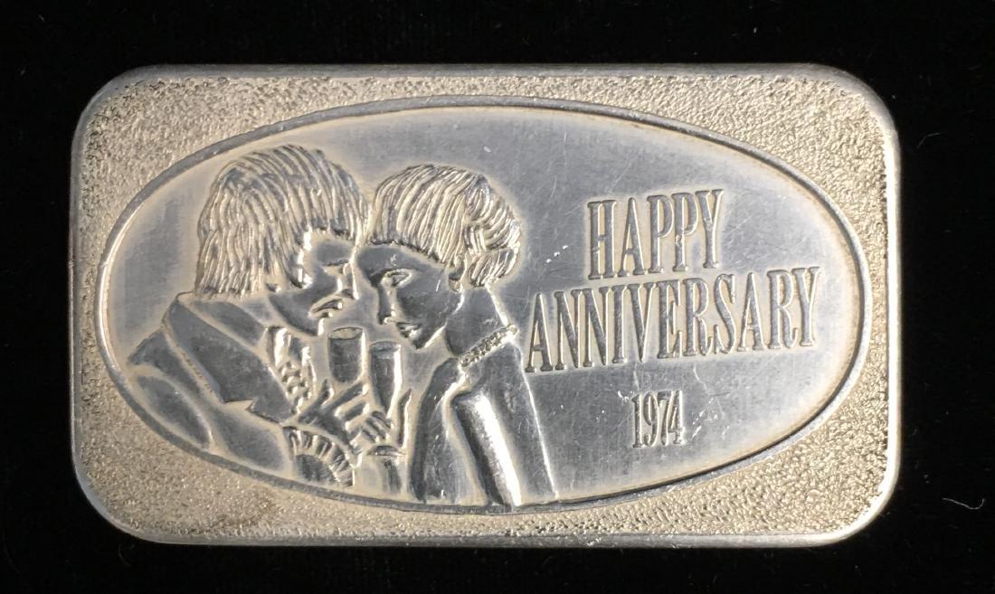 1974 Happy Anniversary 1 tr. oz. .999+ Fine Silver Art