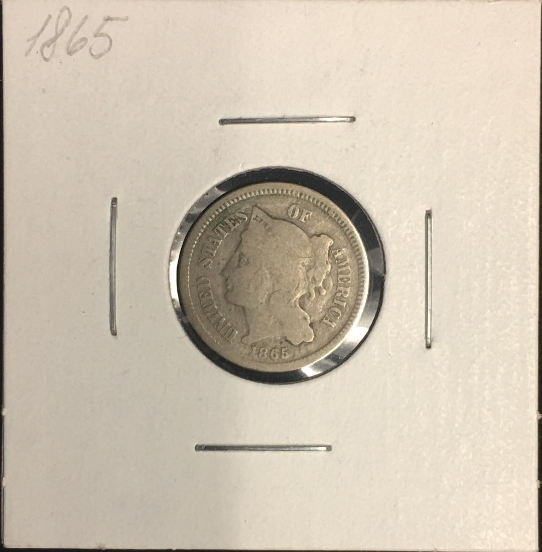 1865 3c Nickel Three-Cent Piece VG-F