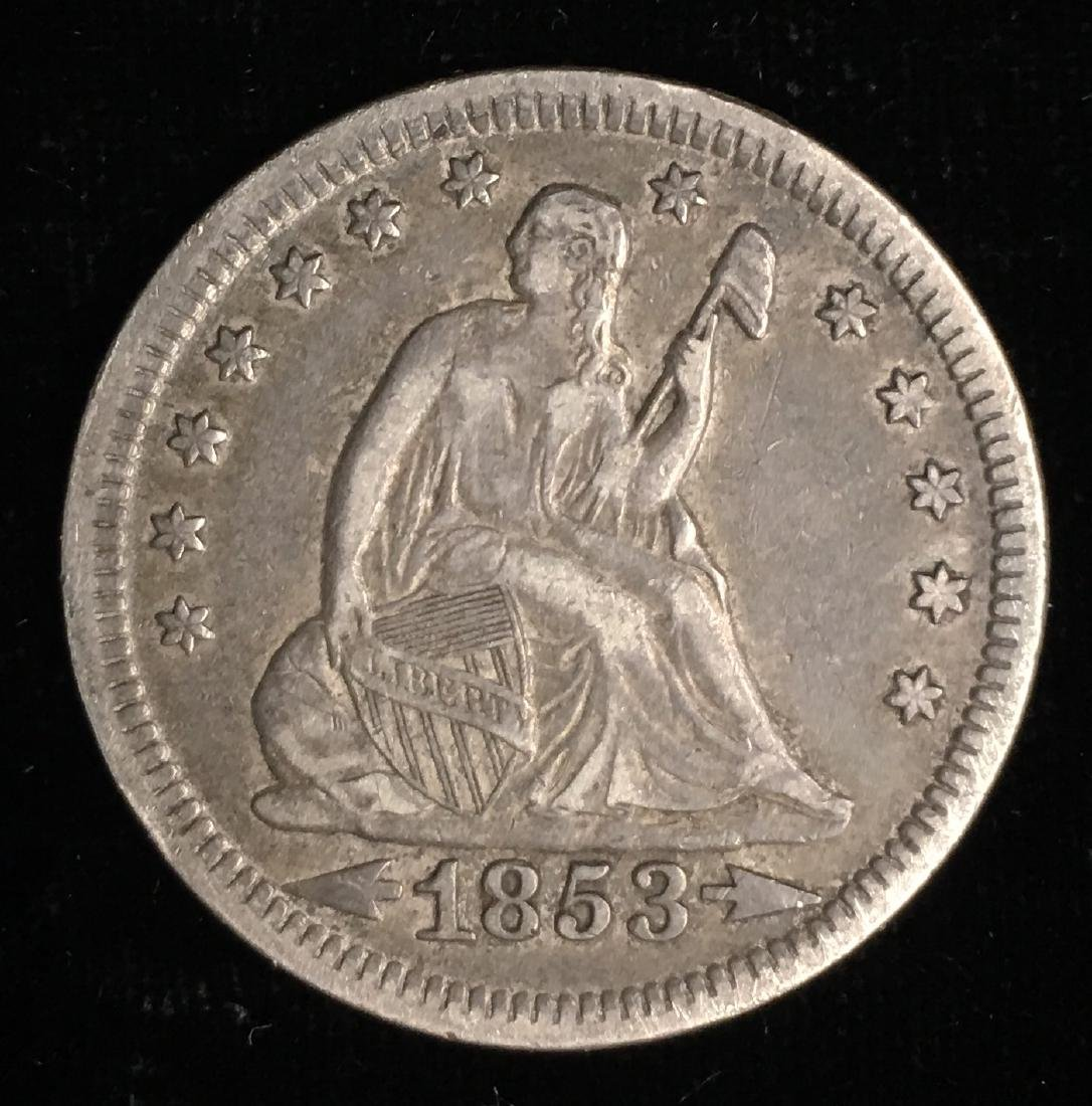 1853 25c  Liberty Seated Quarter Arrows & Rays XF
