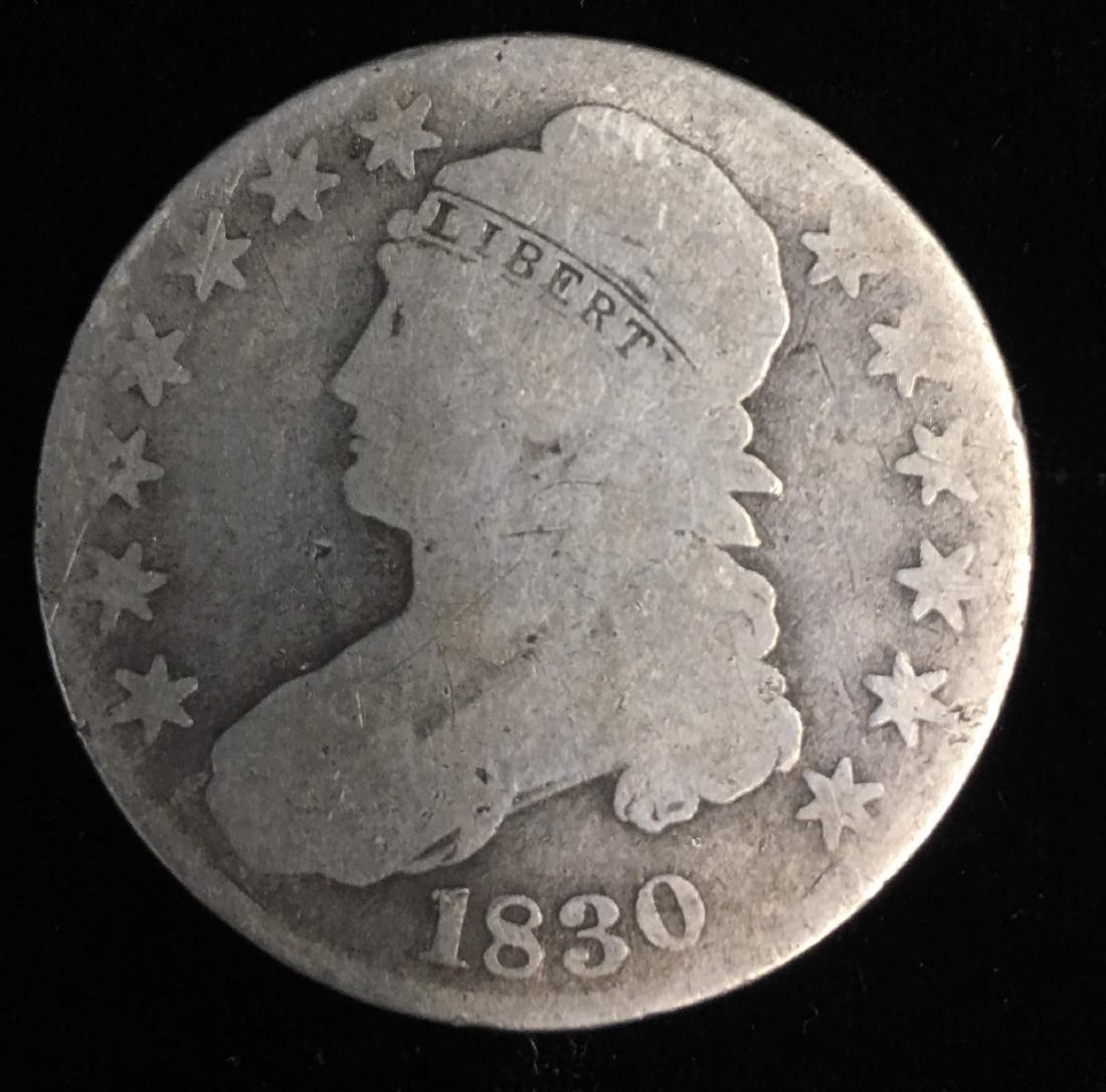 """1830 50c Bust Half Dollar Small """"0"""" Good"""