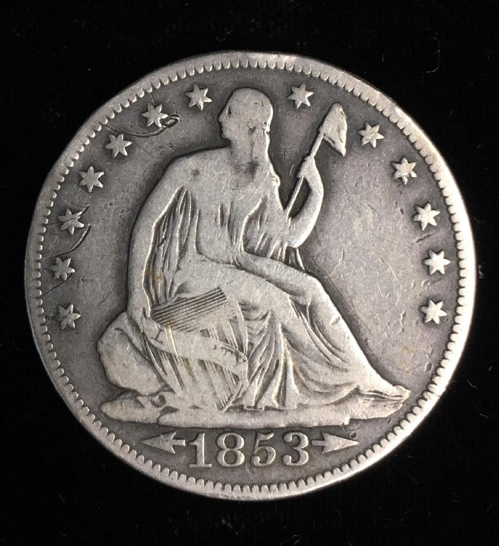 1853 50C Liberty Seated Half Dollar  Arrows & Rays VG+