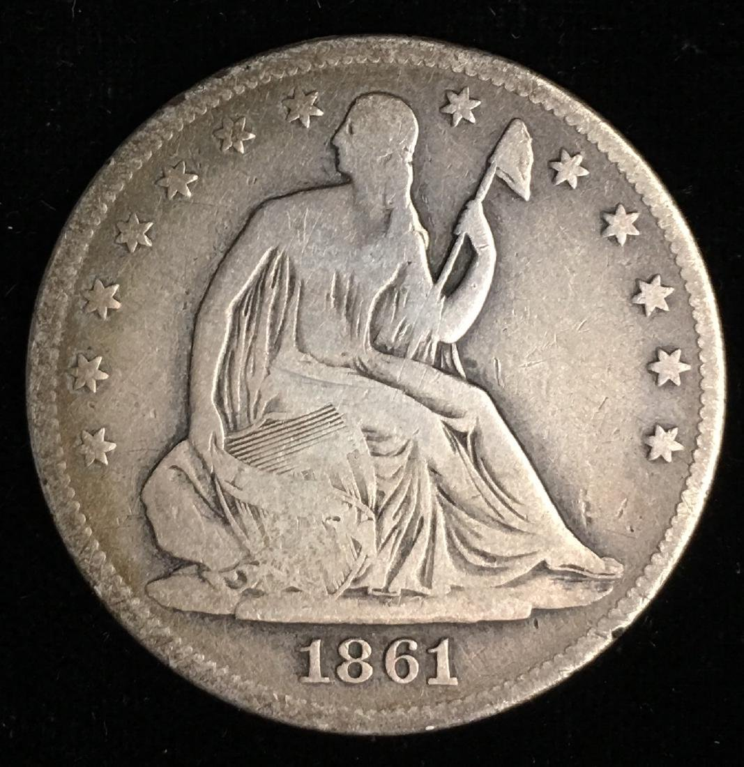 1861 50C Liberty Seated Half Dollar VG